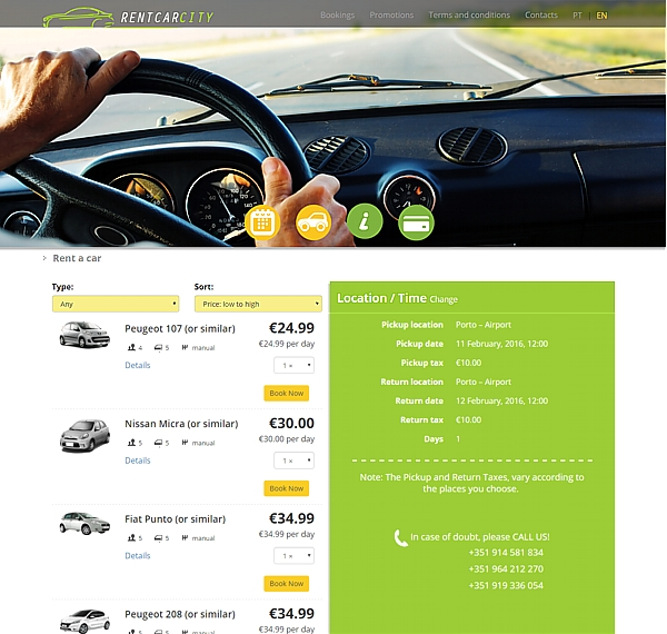 rentcarcity low cost rent a car, vehicles selection